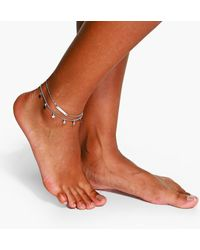 Boohoo Double Layered Star And Bar Anklet - Grey