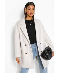 Boohoo Oversized Double Breasted Wool Look Coat - White