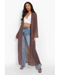 Boohoo Tonal Polka Dot Woven Maxi Kimono - Brown