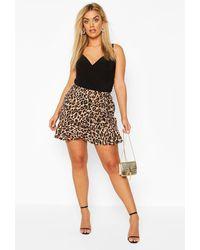 Boohoo Plus Leopard Print Ruffle Skater Skirt - Brown