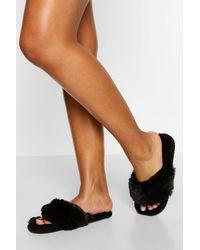 Boohoo Super Fluffy Slider Slippers - Black