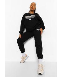 Boohoo Plus Sports Dept Tracksuit - Black