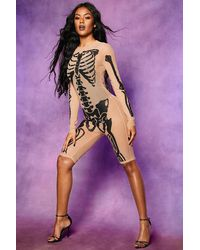 Boohoo Halloween Skeleton Mesh Playsuit - Multicolour