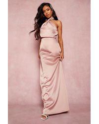 Boohoo Womens Petite Maxikleid Aus Satin Mit Twist-Front - Pink