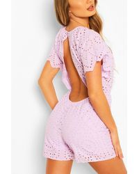 Boohoo Broderie Lace Open Back Playsuit - Viola