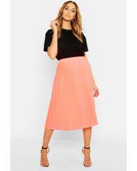 Boohoo Pleated Midi Skirt - Orange