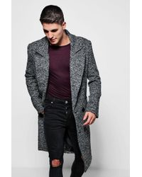 Boohoo Textured 3/4 Smart Lined Overcoat - Grey