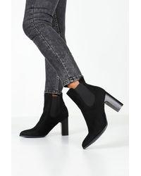 Boohoo Pointed Toe Block Heel Chelsea Boots - Black