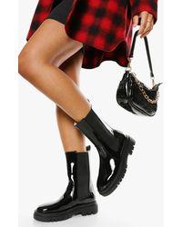 Boohoo Wide Width Calf High Chunky Sole Chelsea Boot - Black