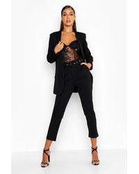 Boohoo Self Belt Tailored Pants - Black