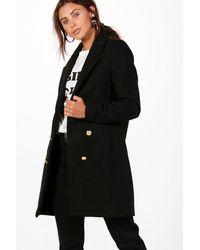 Boohoo Petite Kara Double Breasted Military Coat - Black