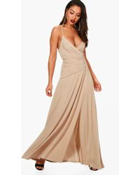 Boohoo - Wrap Ruched Strappy Maxi Dress - Lyst