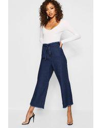 Boohoo - Cinch In Waist Wide Leg Jeans - Lyst