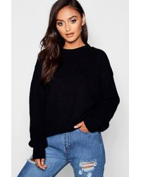 Boohoo Petite Ivy Oversized Sweater - Black