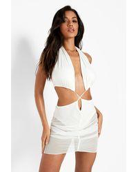 Boohoo - Slinky Mesh Cut Out Halteneck Mini Dress - Lyst