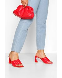 Boohoo Quilted Square Toe Low Heel Mules - Red