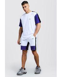 Boohoo - Ensemble t-shirt coupe ample et short colorblock MAN - Lyst