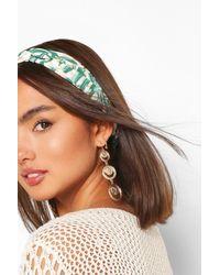 Boohoo Palm Print Twist Stretch Headband - Green