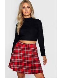 Boohoo Plus Plaid Skater Skirt - Red