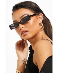 Boohoo Womens Rectangle Squared Flat Cat Eye Sunglasses - Schwarz