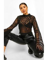 Boohoo Turtle Neck Crochet Lace Crop - Black