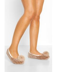 Boohoo Pom Pom Ballet Slippers - Natural