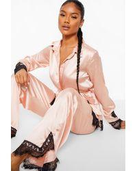 Boohoo Eyelash Lace Satin Wrap Front Pj Set - Pink