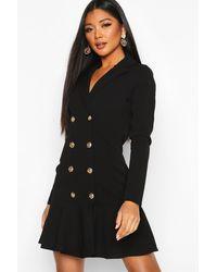 Boohoo Frill Hem Double Breasted Blazer Dress - Black