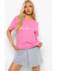 Boohoo Tall Slogan T-shirt And Short Pj Set - Pink