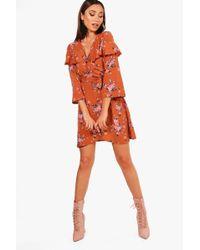 Boohoo   Diana Floral Angel Sleeve Woven Tea Dress   Lyst