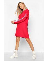Boohoo - Long Sleeve Contrast Stripe T-shirt Dress - Lyst