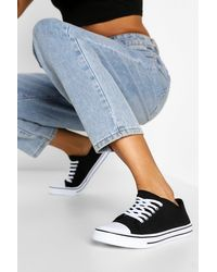 Boohoo Lace Up Canvas Flat Trainers - Black