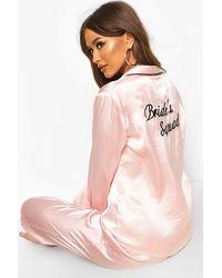Boohoo Bride Squad Satin Pj Set - Pink