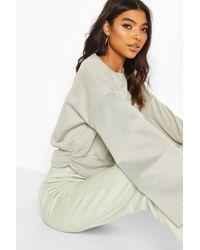 Boohoo Womens Tall Ruched Hem Straight Sleeve Sweat - Green