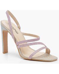 b8f0647fb9f1 Lyst - Boohoo Asymmetric Block Heel Sandals in Metallic
