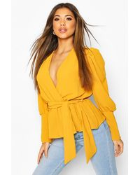 Boohoo Puff Sleeve Wrap Blouse - Yellow