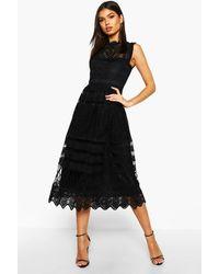 Boohoo Womens Boutique Lace Midi Skater Dress - Black - 4