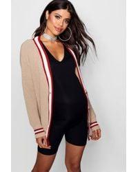 Boohoo - Maternity Contrast Stripe Tonal Cardigan - Lyst