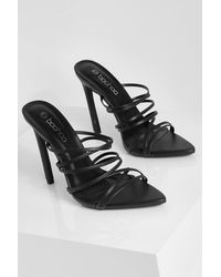 Boohoo Pointed Strappy Mule - Black