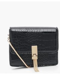 Boohoo Croc Metal Tassel Cross Body Bag - Black