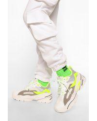 Boohoo Chunky Platform Lace Up Trainers - Green