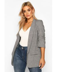 Boohoo Plus Dogtooth Prince Of Wales Flannel Blazer - Grey