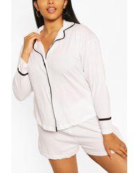 Boohoo Conjunto De Pijama De Camiseta De Punto Con Manga Larga Y Cierre De Botones - Blanco