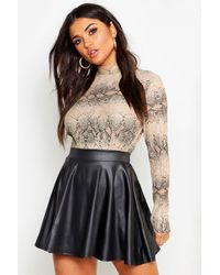 Boohoo Faux Leather Skater Mini Skirt - Black