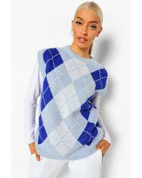 Boohoo Camiseta De Tirantes De Punto A Cuadros - Azul