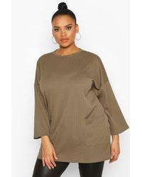 Boohoo Womens Plus Side Pocket Jersey Tunic - Green