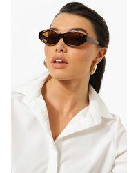 Boohoo Tort Print Cat Eye Sunglasses - Brown