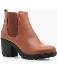 Boohoo - Oana Chunky Cleated Heel Chelsea Boot - Lyst