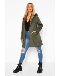 Boohoo Plus Pocket Detail Faux Fur Trim Hooded Parka - Green