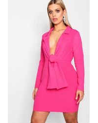 Boohoo - Plus Tie Front Blazer Dress - Lyst